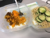 Sweet potato and quinoa and cucumbers for lunch in phase 1!